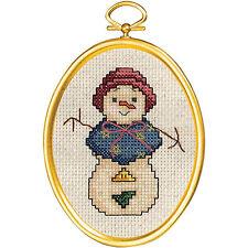 Cross Stitch Mini Kit ~ Janlynn Snowlady Snowman w/Frame #021-1791