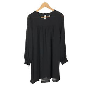 H&M Size 12 EUR 40 Black Chiffon Long Sleeve Knee Length Semi Sheer Lined Dress