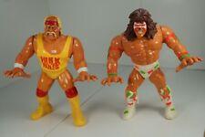 WWF WWE Hasbro HULK HOGAN & ULTIMATE WARRIOR Wrestling action figures loose!