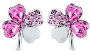 Heart Four Leaf Clover Stud Earrings made with Swarovski elements