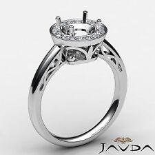 Round 0.36Ct Diamond Engagement Halo Pave Set Filigree Ring Platinum Semi Mount