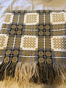 """WELSH TAPESTRY BLANKET/THROW FULLY REVERSIBLE FRINGED W92 X 88""""inches Heavy"""