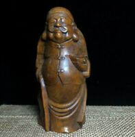 Collect decor boxwood carve Wealthy Chinese old man statue Netsuke figurines