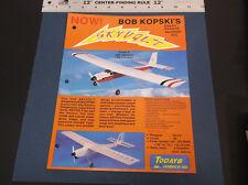 VINTAGE TODAYS HOBBIES  BOB KOPSKI'S SKYVOLT BALSA MODEL PLANE AD SHEET *G-COND*