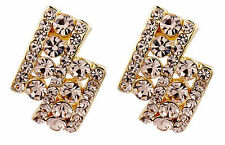 Clip On Earrings - gold luxury stud earring with gold crystals - Esme G