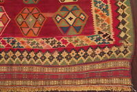 Vintage Geometric South-western Kilim Qashqai Flat-Woven Area Rug Wool 5'x8'