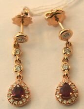 14k Rose Gold Diamond and Ruby Earrings