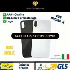 🔝 Vetro Posteriore Scocca Back Battery Cover Big Hole Foro Largo Apple iPhone X
