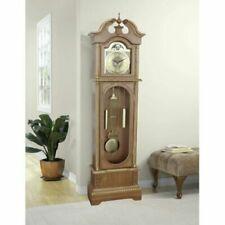 Traditional Grandfather Clock Antique Vintage Longcase Solid Wood Case Art Deco