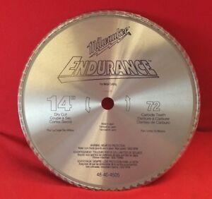 """14"""" Circular Saw Blade 72T x 1"""" Metal Cut Carbide Tip Milwaukee 48-40-4505"""