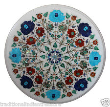 1'x1' Marble End Coffee Table Top Multi Inlay Gems Marquetry Furniture Decor