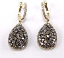 Fantasía Diamante de Color Engarzado de Pera Pendientes 14K Oro Amarillo 3.52Ct