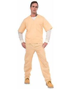 Beige Prisoner Scrubs Tan Convict Uniform Inmate Two Piece Costume