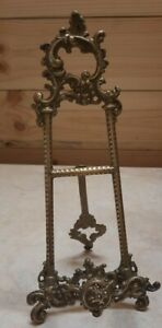 """Vintage Ornate Brass Easel Picture Plate Book Display Stand 10"""""""