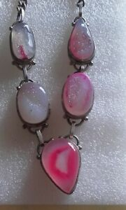 Sterling silver 925 pink druzy crystal 20' necklace