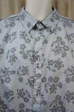 IZOD Mens Casual Shirt Sz XXL Grey Floral Cotton Long Sleeve Button Down