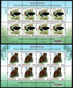MOLDOVA 2021-07 EUROPA: Endangered Wildlife. Birds: Owl Stork. MINI-SHEETS, MNH