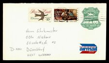 DR WHO 1976 COLUMBUS OH IMPERF PRECANCEL UPRATED STATIONERY TO GERMANY f43116