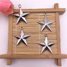 Wholesale 8pcs Tibet Silver Lucky Star Charm Pendant Beaded Jewelry AQ01