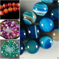 "Wholesale Stripe Agate Onyx Round Gemstone Loose Beads 14 """