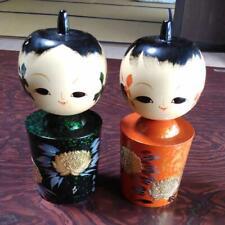 Japanese Vintage Kokeshi Noto and Umeyama Dolls Two Body Set 17cm 梅山 Signed