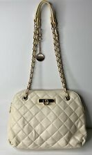 DKNY Ivory Quilted Soft Leather Double Chain Handles Handbag Purse or Crossbody