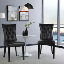 2/4x Faux Leather Dining Chairs Padded Seat Buttoned Back Kitchen Dinning Room