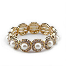 Vintage Style Cream White Pearls Elastic Personality Bangle Bracelet BB99