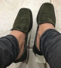 DAVID AARON Suede Loafer Shoes Brazil Leather Sz 6 5.5 Slip On Heel Office Green