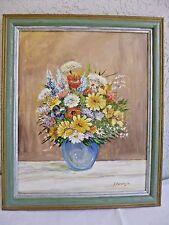 """Original Oil Painting """"Wildflowers in Blue Vase"""" 22.75"""" x 19"""" by Erich Parsiegla"""