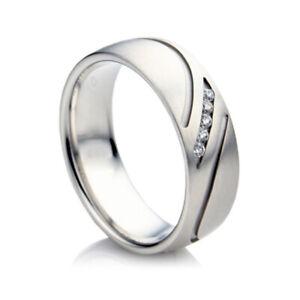 0.10 Ct Natural Diamonds 950 Platinum Wedding Mens Bands Size 9 10 11 12