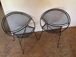 Vintage Pair Of Salterini Mid Century Modern Wrought Iron Radar Patio Chairs