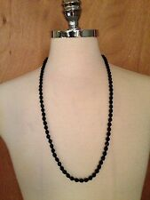 "Vintage Black Crystal Necklace 30"" 5mm Faceted Beads"