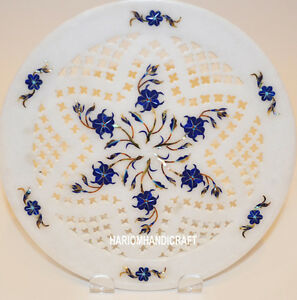 12'' Marble Plate Lapis Filigree Work Inlaid Marquetry Art Beautiful Gifts H3168