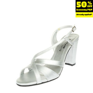 MELLUSO Slingback Sandals Mismatch Size L 41 R 40 Metallic Effect Made in Italy