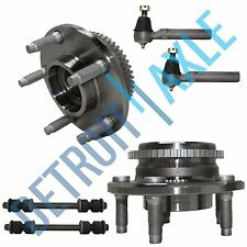 NEW 6 pc Kit- 2 Wheel Hub and Bearing w/ ABS + 2 Outer Tie Rod + 2 Sway Bar Link