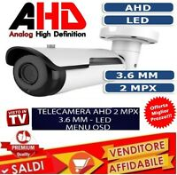 TELECAMERA CAMERA VIDEOSORVEGLIANZA HD 2 LED CCD 720P AHD BNC INFRAROSSI K1 2MP