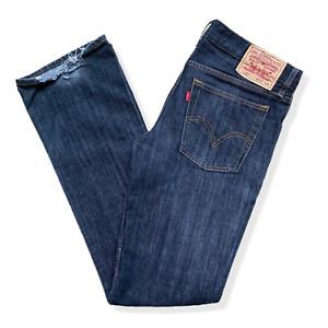 Vintage LEVIS L517 Jeans | W30 L34 | Dark Blue Denim Straight Fit Zip Fly TALL