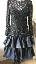 Black 1980's Prom Dress Rara Glitter Ruffle Tiered Taffeta Gothic Ruched Size 10