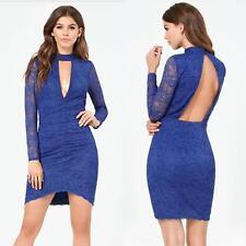 BEBE BLUE CLAIRE MOCK NECK SHIRRED LACE DRESS NWT NEW MEDIUM M