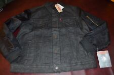 NWT Levi's Black Jean Denim Jacket Snap Front Quilted Thermore Lining Mens  MED