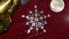Diamonique QVC Sterling Silver & Cubic Zirconia Snowflake Starburst Pin/ Brooch