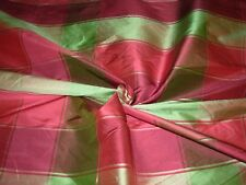 "~BTY~FABRICUT 100% SILK PLAID ""DOUPPIONI"" ~DRAPERY UPHOLSTERY FABRIC FOR LESS~"