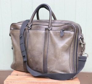 "Coach Gray 100% Leather Messenger Shoulder Laptop Bag 16"""