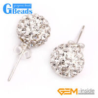 10mm Czech Crystal Rhinestone Pave Disco Ball Silver Plated Stud Earrings