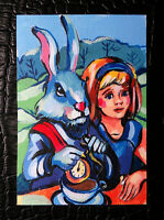 """Original art by Bastet """"Mad Tea-Party"""" OOAK hand painted ACEO"""