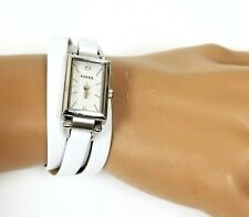 NEW FOSSIL SILVER TONE,WHITE STRAND LEATHER + SILVER BRACELET WATCH JR1442
