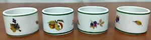 1986 Royal Worcester EVESHAM VALE 3 Fruits Set 4 Porcelain NAPKIN RINGS Lot 1
