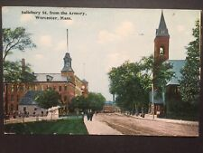 Antique POSTCARD c1913 Salisbury Street from Armory WORCESTER, MA (20301)