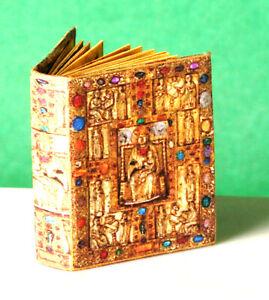 "Miniature Book Set - Historical ""Book of Kells"" plus Vintage Library Clock"
